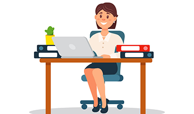Businesswoman working with laptop computer, business character working in office cartoon vector Illustration